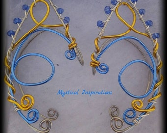 Unique Elf Ears Fairy Ears Ear Cuffs Blue and Yellow