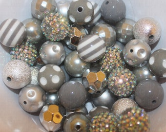 50 Bead Mix  Silver  20mm beads