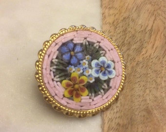Vintage Pink and Blue Micromosaic Floral Brooch, Italian Micromosaic Pin, Pink Micromosaic Brooch,Pink Italian Mosaic Brooch, Gift for Her