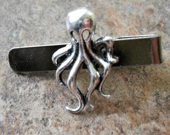 Squid Tie Bar Clasp, Squidbillies Tie Clasp, Silver Squid Tie Clasp, squid tie clasp, silver squid, squid