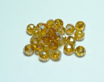 15 pearls 6mm faceted amber ab iridescent