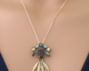 Statement Necklace - Gold Necklace - Rhinestone Necklace - Tassel Necklace - Boho Necklace - Retro Necklace - Upcycle - handmade jewelry