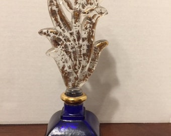 Hand Painted 24 kt Cobalt Blue Perfume Bottle