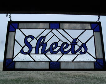 Custom Stained Glass Window Panel, Family Name Signs