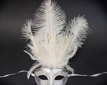 Masquerade Mask, Feather Masquerade Mask, Feather Masks, Mardi Gras Mask, Mardi Gras Masks, Masquerade Ball, Handheld Mask [White | Silver]