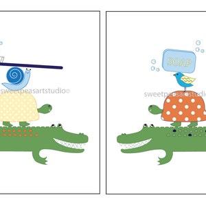 Alligator Bath Art, Bath Decor For Kids Bathroom Room Decor, Alligator Bath  Wall Decor