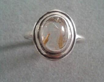Modern Sterling Silver Geometric Oval Rutilated Quartz Statement Ring
