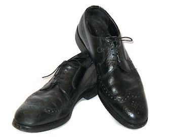 60s Wingtips Derby, Black Wingtips, Black Bulchers, Black Leather Shoes, Black Lace Up Shoe, Longwing Brogue, 1960s Leather Wingtips