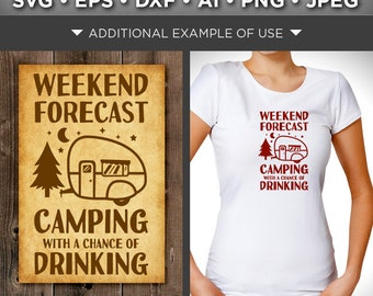 Weekend Forecast Camping With A Chance of Drinking SVG - Camper Svg - Camper Sign - Camping Decor - Camper Clipart - Tree Svg - 643