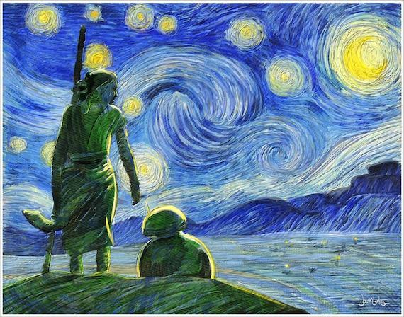 "mashup ""Starry Starry Wars"" art print on premium matte paper with archival ink // Van Gogh // Star Wars // Rey // BB8"