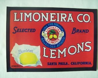LIMONEIRA CO. Brand Lemons Crate Label 1940s