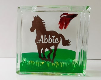 CUSTOM PERSONALIZED (Made to Order) Beta Fish Tank (Horse Lover Shown) to Match Your Passion or Theme