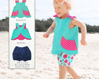 Baby Sewing Pattern PDF pattern, Baby Bloomers Pattern pdf, Baby Pattern, Toddler Pattern, Baby Dress Pattern, Baby Top Pattern, SCANLAN
