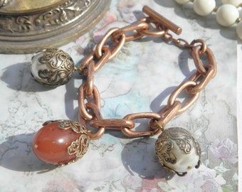 Pure vintage Haute Couture chunky bracelet red copper chain pearls bakelite and vintage charm bracelet bead