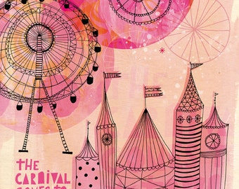 SALE Carnival Comes to Town Wall Art Print  kids decor