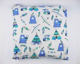 Indian bear fox pillow pillowcase baby shower 16x16 pillow indian pillow bear and fox tipi