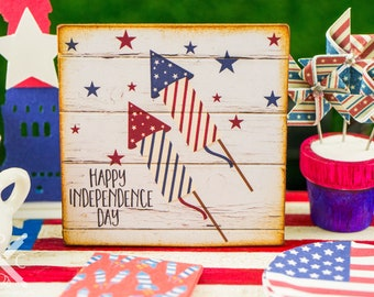 Made to Order Miniature Happy Independence Day Firecrackers Sign - 1:12 Dollhouse Miniature