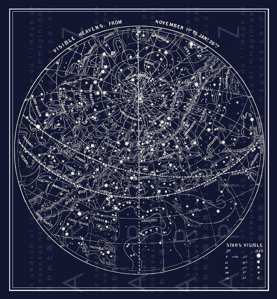 Antique Illustration Southern Sky Fall Constellations Map Of