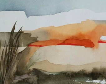 """SPRING SALE Padre Island Series """" Sunset along the Shore"""" one of a kind original watercolor."""