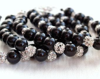 Black Bracelet Bridesmaid Gift Jewelry Pearl Bracelet Wedding Jewelry Rhinestone Pearl Bracelet Black Glass Bead And Rhinestone Bracelet