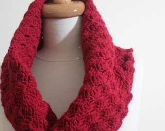 Lace Red Cowl, with Gloves Mittens, Fall Fashion, SpringTrend, Gift For Him, For Her, For Mom, For Girls READY TO SHIPPING