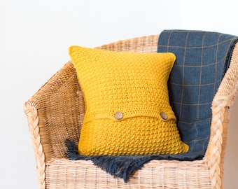 Mustard Yellow Cushion Cover, Mustard Cushion, Yellow Cushion, Mustard Yellow Decor, Square Cushion, Bright Cushion, Sofa Pillow