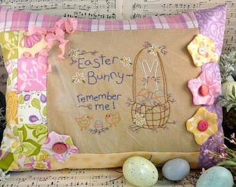 Easter Bunny remember me embroidery PDF Pattern - stitchery egg basket chicks primitive pillow bed flowers
