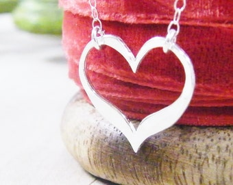open heart necklace simplistic hammered sterling heart valentines necklace
