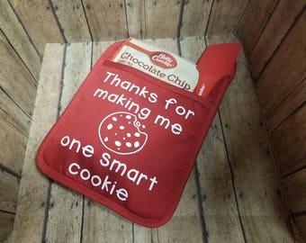 Teacher appreciation - one smart cookie pot holder, cookie dough, spatula
