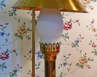 Orient Express Paris Istanbul Brass Table / Desk Lamp with Lion Feet, Adjustable Shade and Frosted Globe