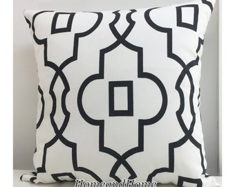 Zipper Closure Bordeaux Damask Black White Pillow Cover Decorative Throw Pillow  Black white pillow cover 12x16,16x16, 18x18, 20x20