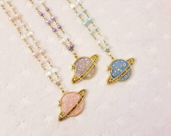 Kawaii Pastel Planet Necklace - Fairy Kei Decora Pastel Goth Harajuku inspired