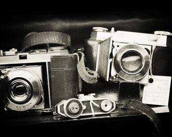Camera Print: Antique Kodak Fine Art Photography Still life photography, Black and White photography, Camera Vintage camera print office art