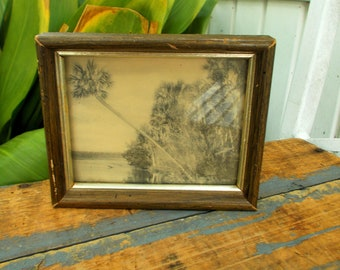 Sepia Tone Palm Tree Beach Scene - Vintage Frame Hawaii Beach Scene - Mangrove Scene With Swaying Trees - Prissys Newberry Antiques