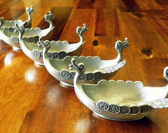 """Set of 5 Vintage Pewter Viking Ship Salt Cellars with Spoons--Made in Norway by TPB Tinn--3"""" L x 1-1/4"""" W x 1-1/2"""" H"""