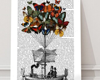 Butterfly print - Butterfly Airship - Butterfly wall art butterfly art hot air balloon print balloon decor Couple butterfly decor gift