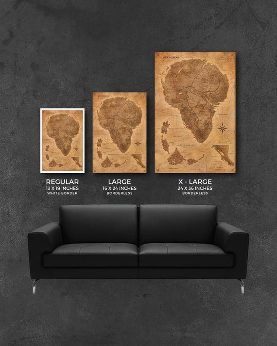 Jurassic Park Map Sepia Poster Isla Nublar Map Print - Large sepia world map