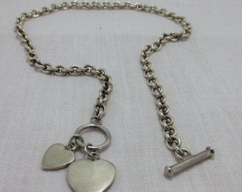 DOUBLE HEART NECKLACE sterling  - heavy 35.97 grams