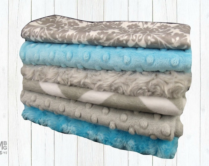 Turquoise and Gray Baby Burp Cloths, Minky Layette Accessories, Baby Burp Burp Rags