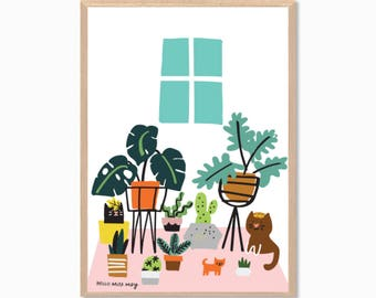 PLANTS | and Cats Poster : Modern Illustration Art Wall Decor Print