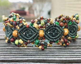 SALE Micro-Macrame Beaded Cuff Bracelet - Dark Green Picasso Mix