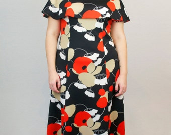 Vintage Maxi Dress Sleeveless Capelet Sheath Floral Graphic Black Red Retro Flower Print Spring Summer 1960s Size Large