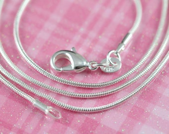 Snake Chain 925 Sterling Silver Necklace 1mm 12 14 16 18 20 22 24 inches