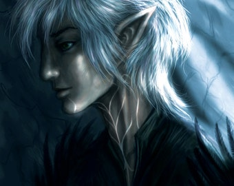 Silver-Haired Tattooed Elf (art print)