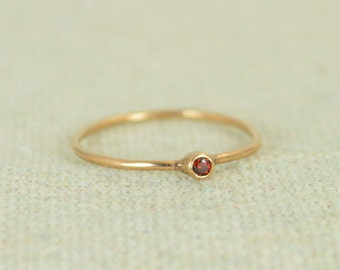 Tiny Garnet Ring, Rose Gold Filled Garnet Ring, Garnet Stacking Ring, Garnet Mothers Ring, January Birthstone, Garnet Ring, Tiny Ring