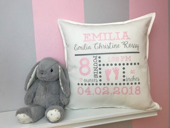 Birth announcement pillow personalized baby gifts nursery like this item negle Images