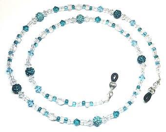 Blue Zircon / Aquamarine Swarovski Crystal Bling Ball Eyeglass Chain Holder