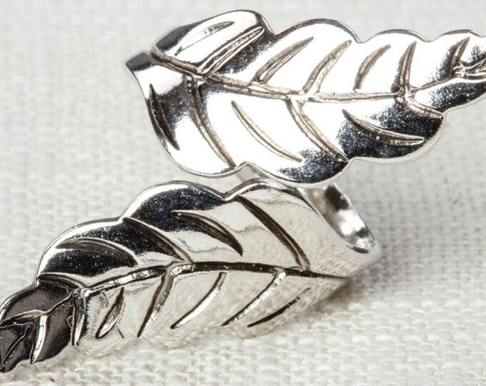 Silver Leaf Ring Vintage Leaves Ring Adjustable Celebrity Brand Womens 7RI