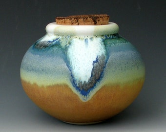 STONEWARE JAR #6 - Jar with Cork - Ceramic Jar - Storage Jar - Kitchen Jar - Corked Jar - Canister - Ceramic Urn - Stoneware Urn - Pet Urn