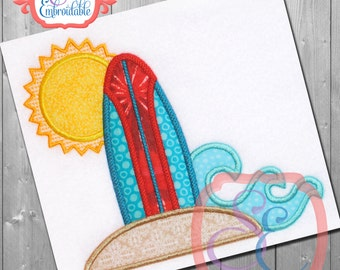 SURF N SUN  Applique Design For Machine Embroidery